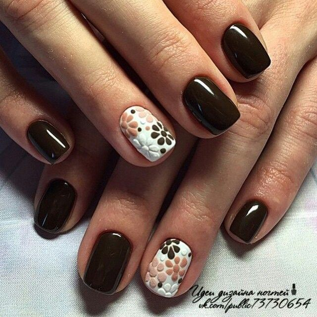 Brown Floral Nails Nails Pinterest Diseos De Uas