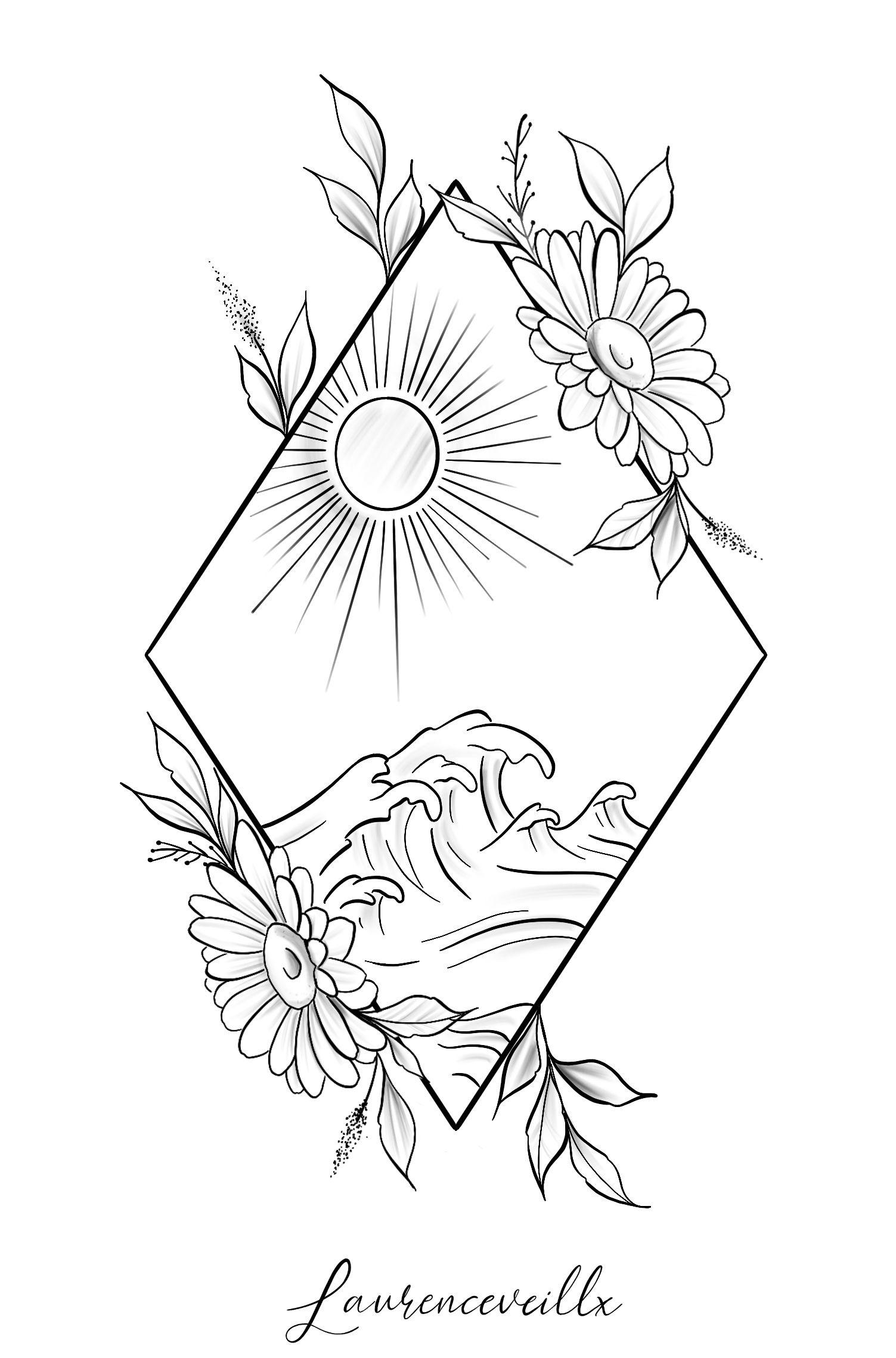 Photo of Triangle Nature Sun Wave Beach Sunflower Tattoo Design @laurenceveillx