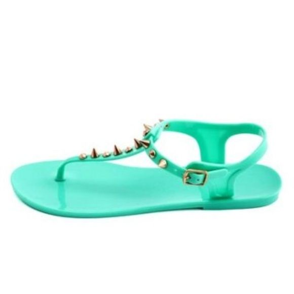 Aqua spiked sandals Worn once. Charlotte Russe Shoes Sandals