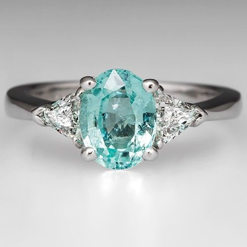 Paraiba Color Cuprian Tourmaline Engagement Ring Platinum Eragem