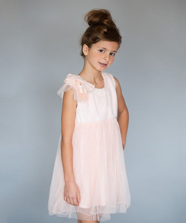 Look at this Designs by Meghna Pink Lace Pearl Shoulder Bow Dress - Toddler & Girls on #zulily today!