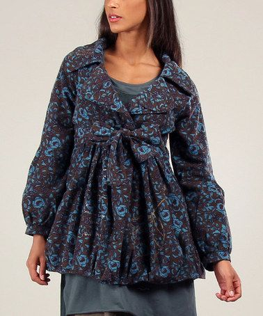 Look what I found on #zulily! Turquoise & Anthracite Judith Floral Jacket #zulilyfinds