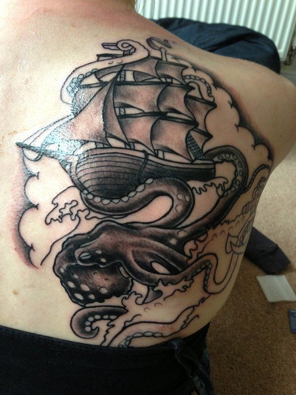 Boat with octopus tattoo - 55 Awesome Octopus Tattoo Designs  <3 !