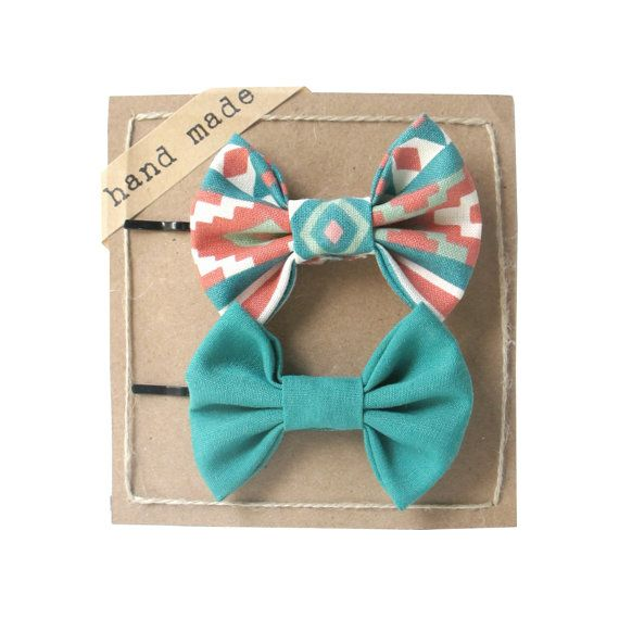 Orange Geometric and Green  Hair bows  Set of Two Bobby by Fr33na, $9.99