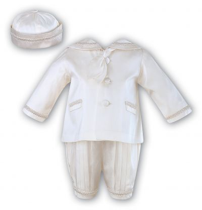 Baby Boys Blue//White Christening Romper-Suit-Outfit By Eva Rose