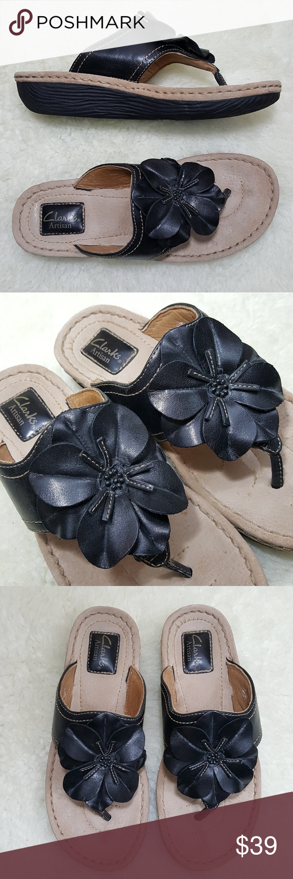 45018751bb5038 Clarks Artisan Leather Flower Detail Thong Sandal Pre-Owned. Please see all  photos for