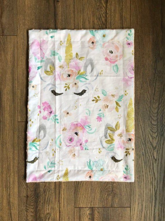 Unicorn Lovey Blanket - Unicorn Security Blanket - Sleepy Unicorn Lovey - Baby Shower Gift - Minky B #securityblankets