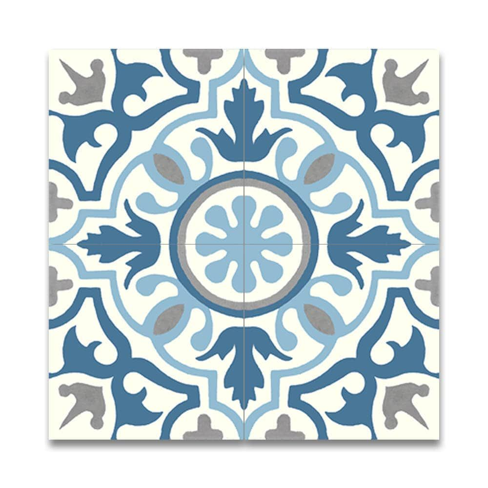Baha Blue and Grey Handmade Moroccan 8 x 8 inch Cement and Granite ...