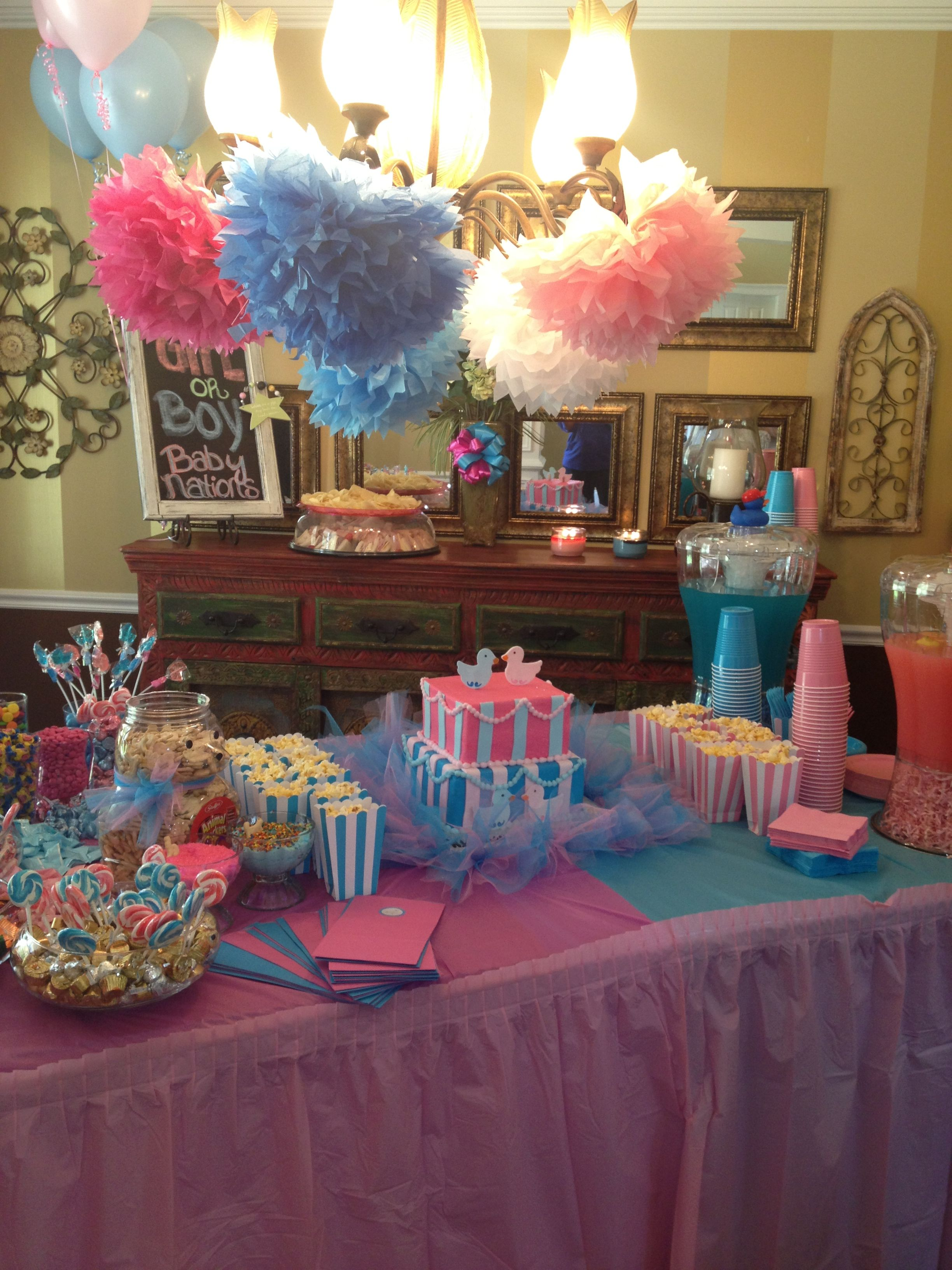 Gender Reveal Table Ideas Pink And Blue Punch Gender Reveal Party Decorations Gender Reveal Decorations Gender Reveal Party Food