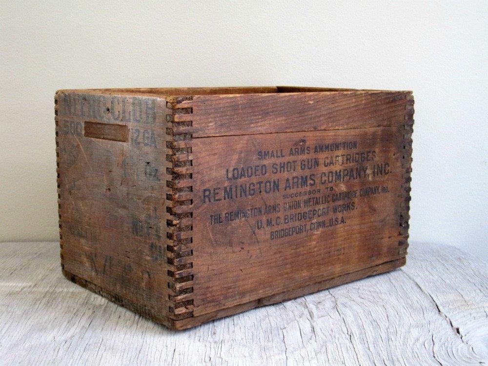 Vintage Wood Box Remington Ammo Wood Crate Industrial
