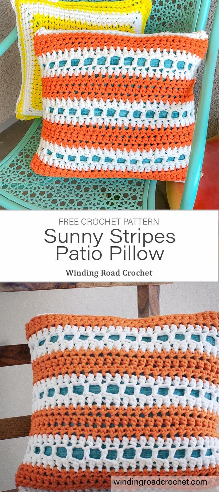 Sunny Stripes Patio Pillow Free Crochet Pattern Winding Road Crochet In 2020 Easy Crochet Patterns Free Crochet Patterns Throw Pillow Pattern