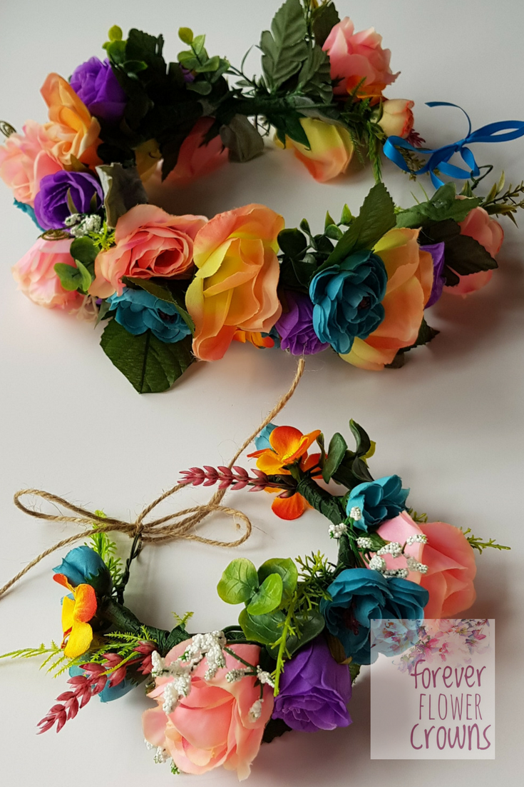 Summer in abundance brightly coloured faux flower crownhalo brightly coloured faux flower crownhalo matching mini me crown created by forever flower crowns izmirmasajfo