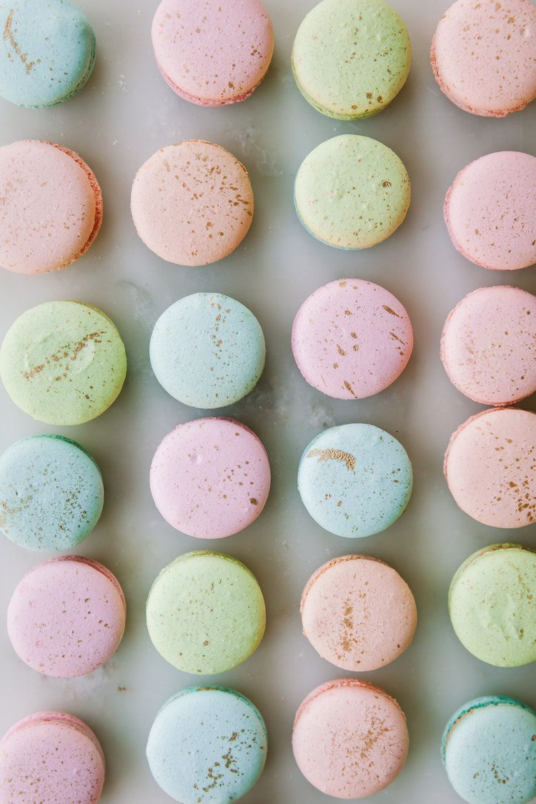Pastel Macarons: Pastel And Gold French Macarons
