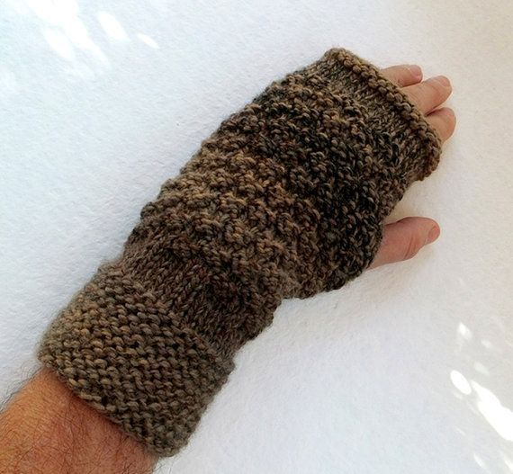 Mens Fingerless Gloves Mittens In Shades Of Brownunisex Knitted