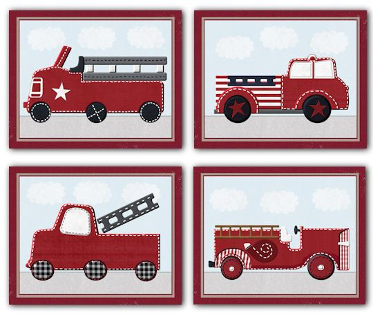 Vintage Firetrucks For Jake Nursery Bedding By