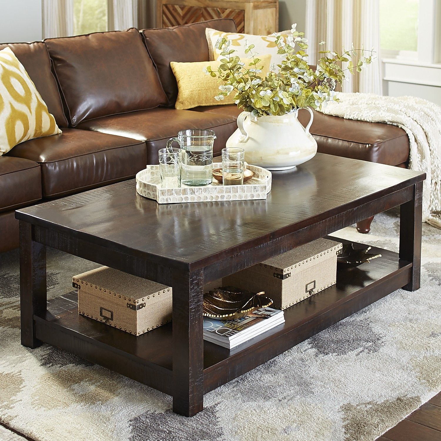Parsons End Table Pier One: Parsons Large Tobacco Brown Coffee Table