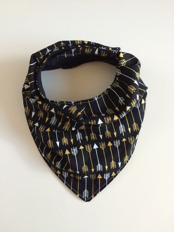 black gold and silver arrow print hipster scarf or bandana bib