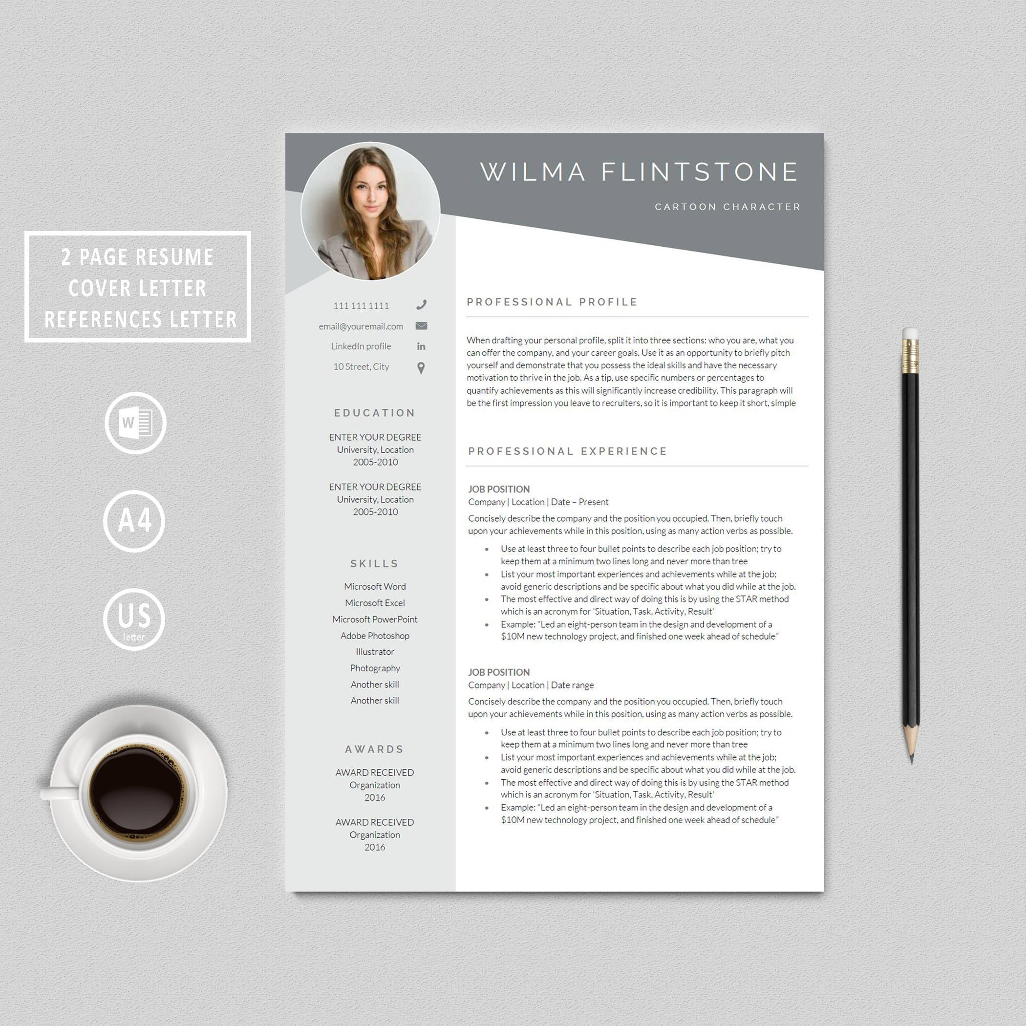 Resume Template | Modern Resume | Creative Resume | Photo Resume |  Professional Resume | Word