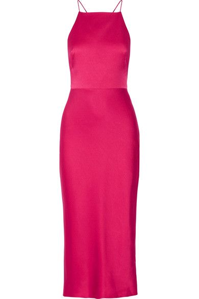 73dad27f733d0 Fuchsia satin-crepe Concealed hook and zip fastening at side 73% acetate,  27% viscose; trim1: 100% polyester; trim2: 100% cotton; lining: 100% silk  Dry ...