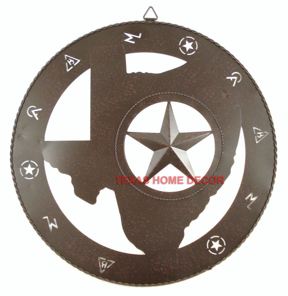 Western Texas Map Outline With Star Tin Metal Cattle Marking Rustic Brown Southwestern