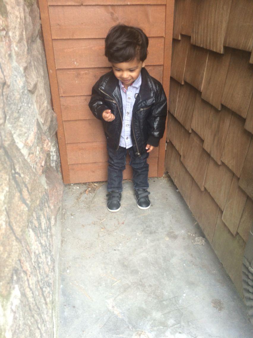 Baby Boy Fashion H M Leather Jacket Tommy Hilfiger Short Sleeve Shirt Skinny Jeans And Joe Fresh Black Check Toddler Boy Fashion Boy Fashion Checkered Shoes [ 1136 x 852 Pixel ]