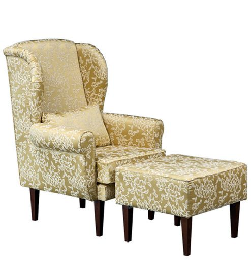 Pleasing Macy Wing Chair With Pouffe In Pearl Blossom Colour By Caraccident5 Cool Chair Designs And Ideas Caraccident5Info