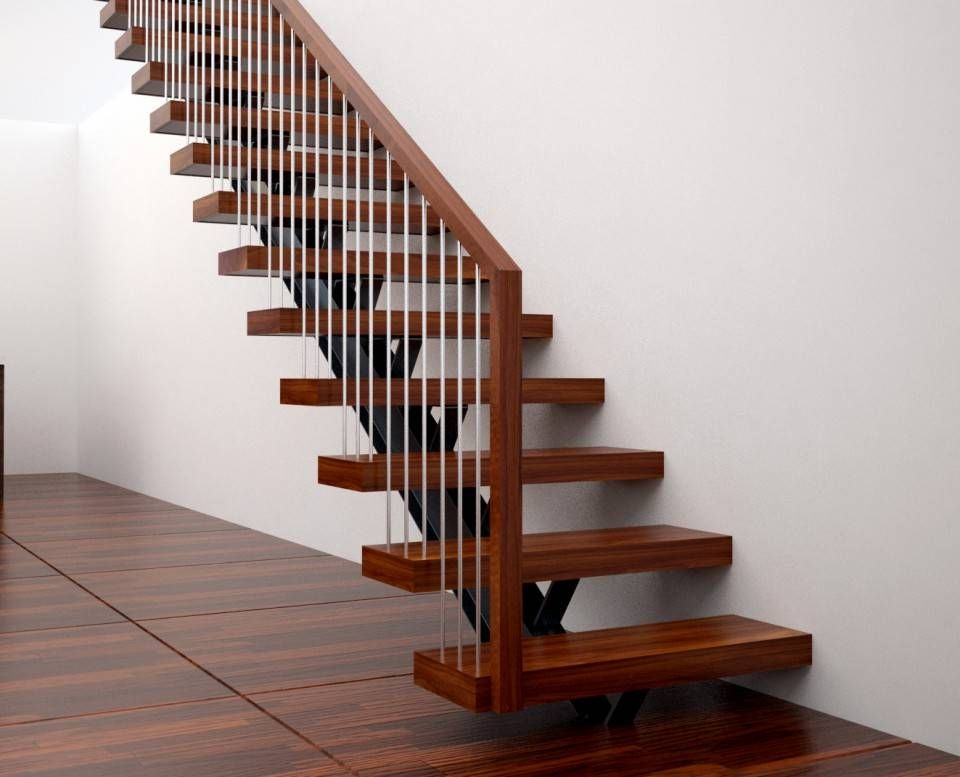 Single Spine Straight Stair With Wood Handrail Straight Stairs