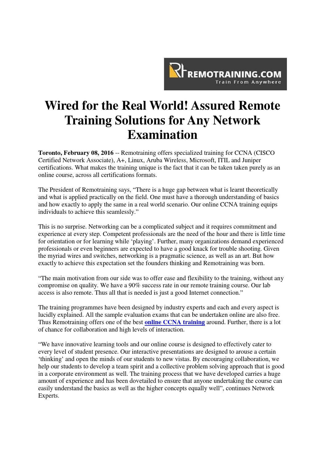 Wired for the real world assured remote training solutions for online courses 1betcityfo Gallery