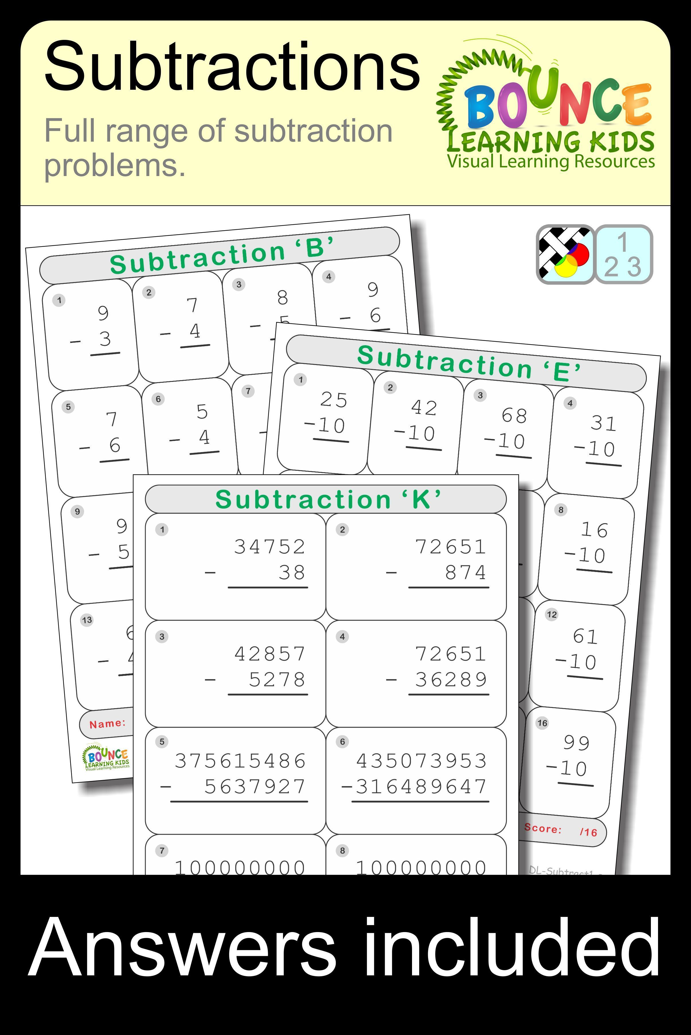 Subtraction 13 Distance Learning Worksheets For Numeracy