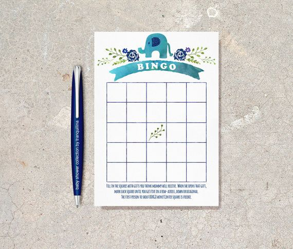 Elephant Bingo Game Printable  Digital File by tranquillina