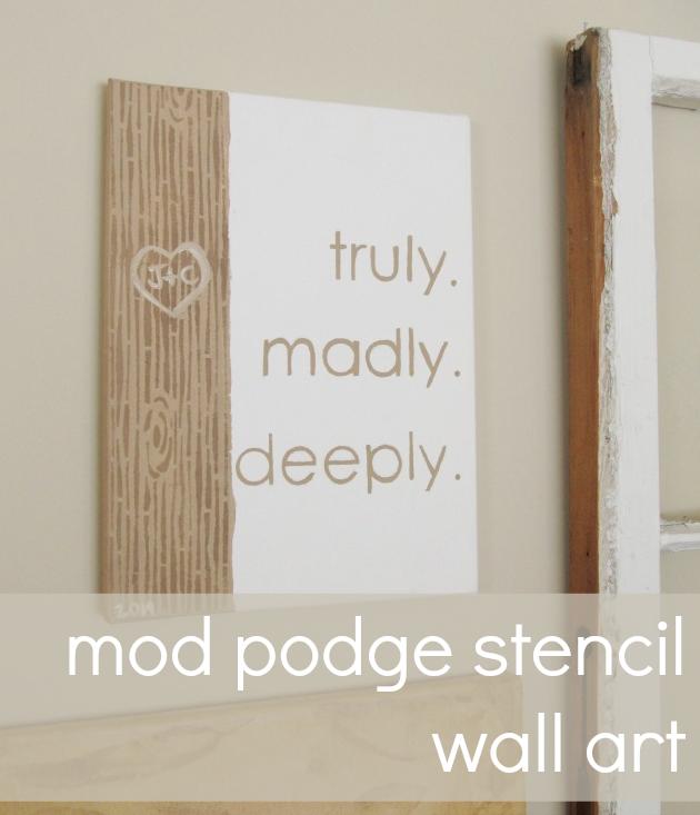 mod podge stencil wall art