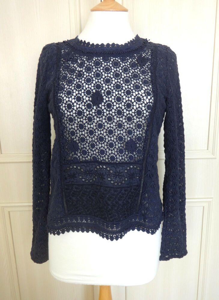 Vanessa Bruno Athe 'Belinda' Navy Blue Lace Top - FR 38/UK 10 - RARE