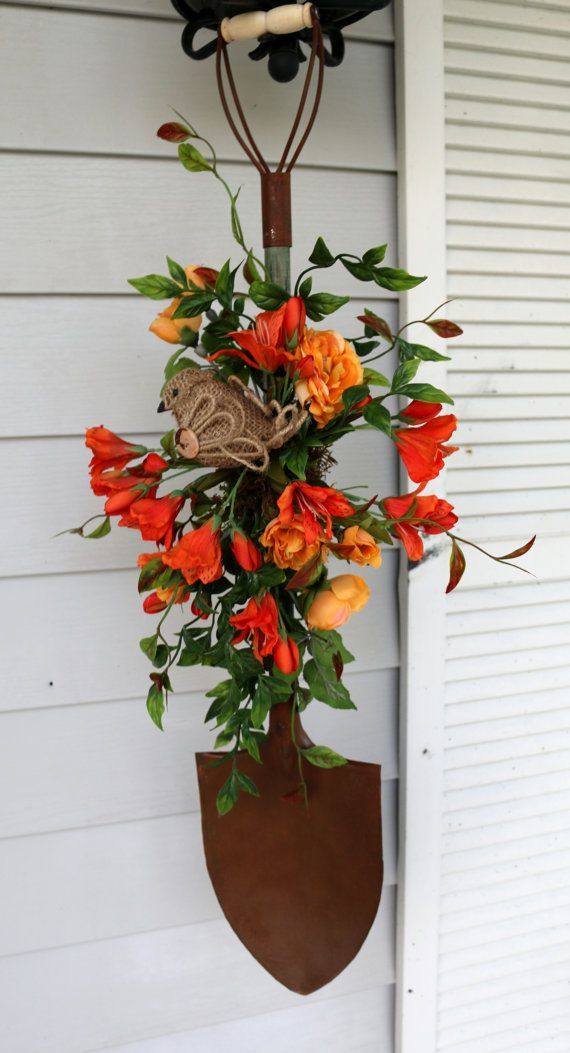 Bird and Lily Orange Antique Primitive Shovel Wreath Door Hanger