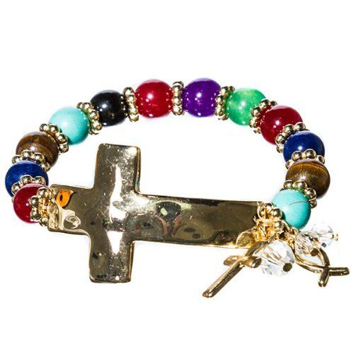 Designer Inspired Gold Hammered Sideways (Side Cross) Bracelet with Blue Turquoise & Red Beds, Stretch Hail Mary Gifts, http://www.amazon.com/dp/B008RC7HR2/ref=cm_sw_r_pi_dp_RIoTqb007J9M1