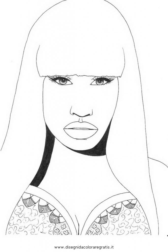 Online Nicki Minaj Free Printable Coloring Page For Teenage Girls