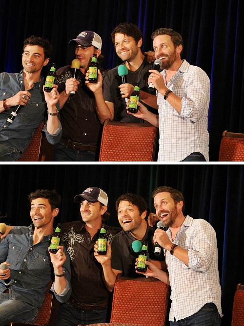 #DallasCon2014 │ #MattCohen, #RichardSpeighJr, #MishaCollins & #RobBenedict: Working an endorsement deal in hopes of free beer for life #DallasCon, #SupernaturalCast.  CREDIT: https://twitter.com/FangasmSPN/status/513462463854280704