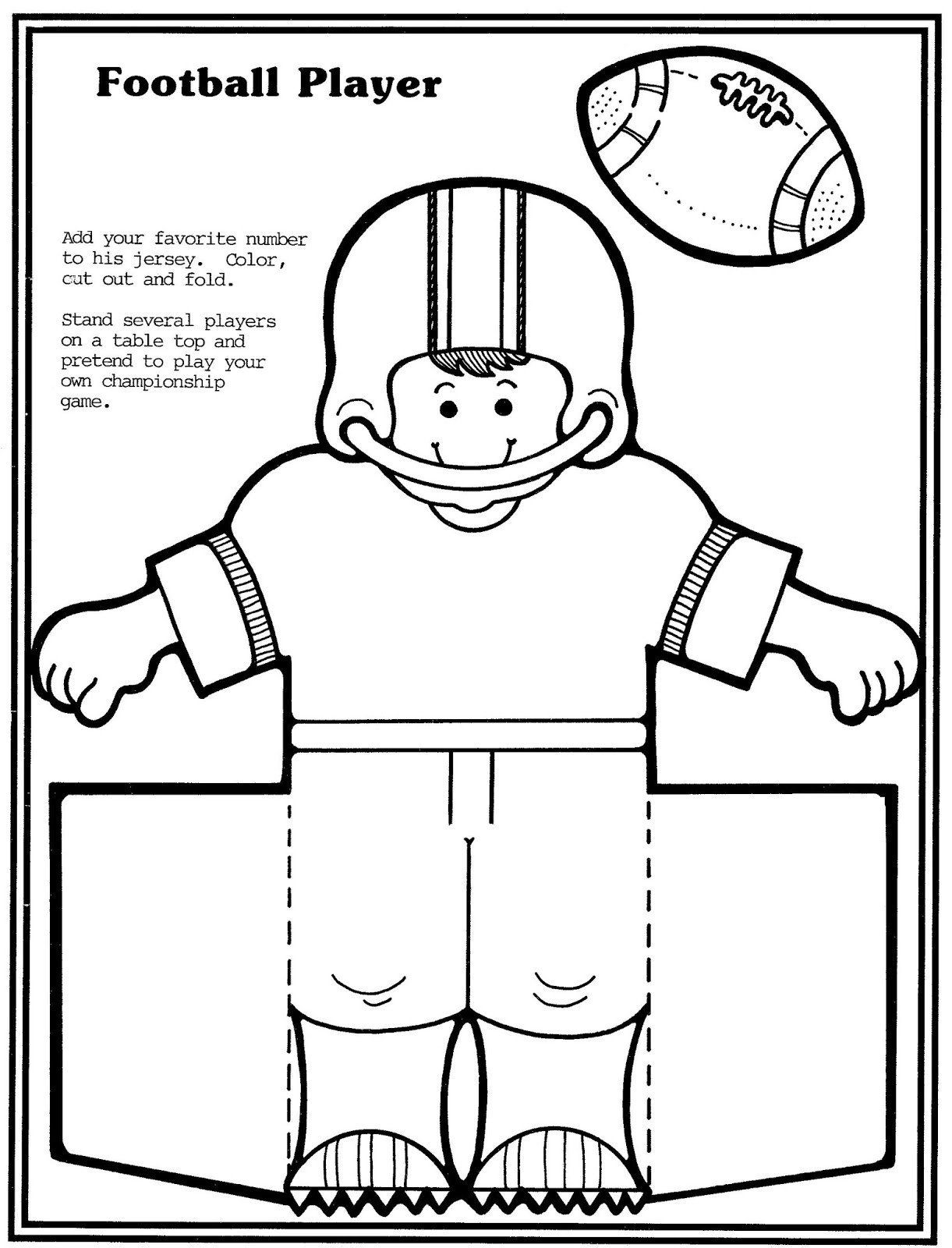 Football Player Template Printable Mostly Paper Dolls Too