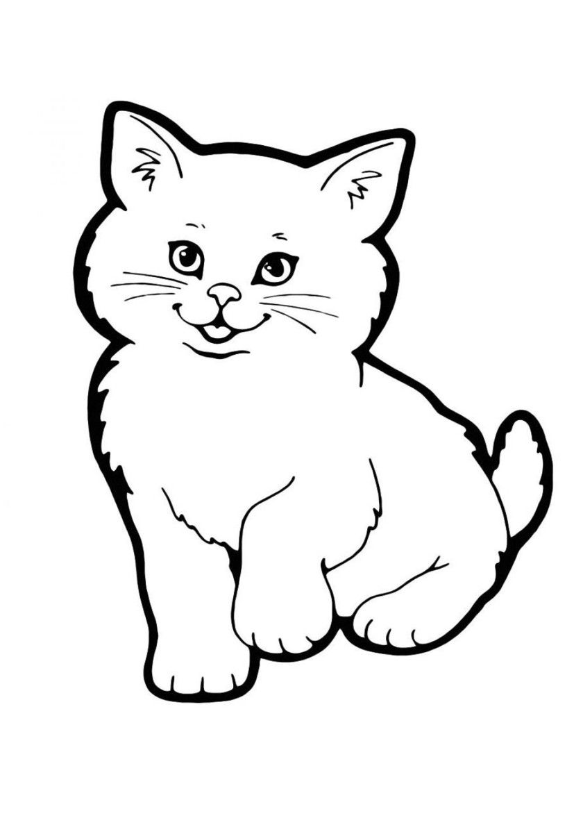 75 Cats And Kittens Coloring Pages For Kids More Printable Pictures On Babyhouse Info Fluffy Free Coloring Cat Coloring Page Cat Template Kittens Coloring
