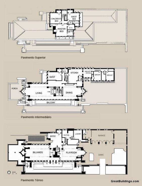 1908 1910 robie house frank lloyd wright chicago il Frank lloyd wright house plans free