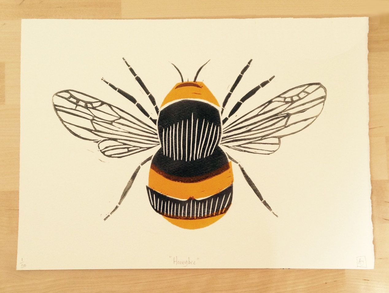 Handprinted linocut Honey Bee by Rositaprints on Etsy