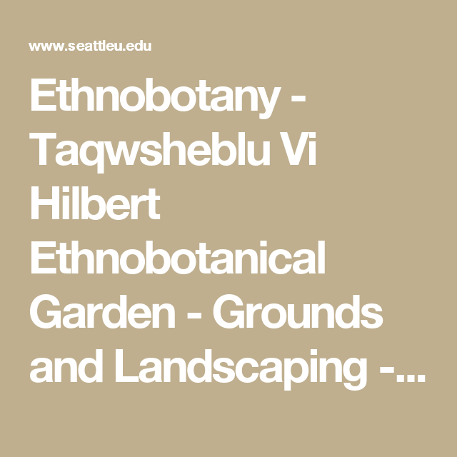 Ethnobotany - Taqwsheblu Vi Hilbert Ethnobotanical Garden - Grounds and Landscaping - Seattle University