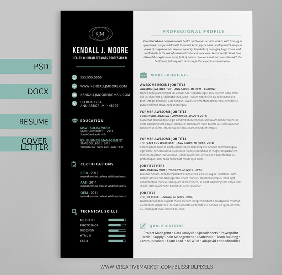 Resume cover letter template by blissful pixels on creative market resume cover letter template by blissful pixels on creative market yelopaper Images