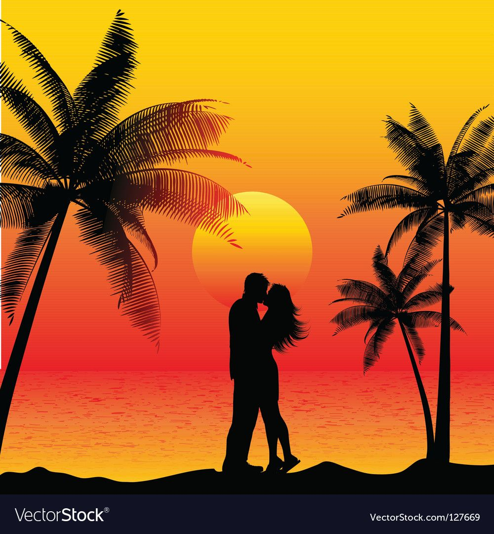Couple Kissing On Beach Royalty Free Vector Image Ad Beach