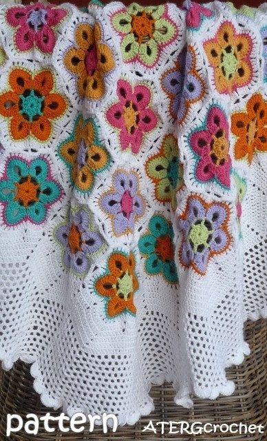 Crochet Patrón hexagonal flor cuadros/afgano por por ATERGcrochet ...