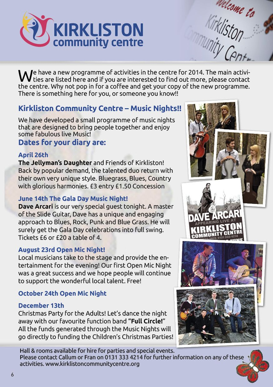 Kirkliston Community Centre Programme How to find out