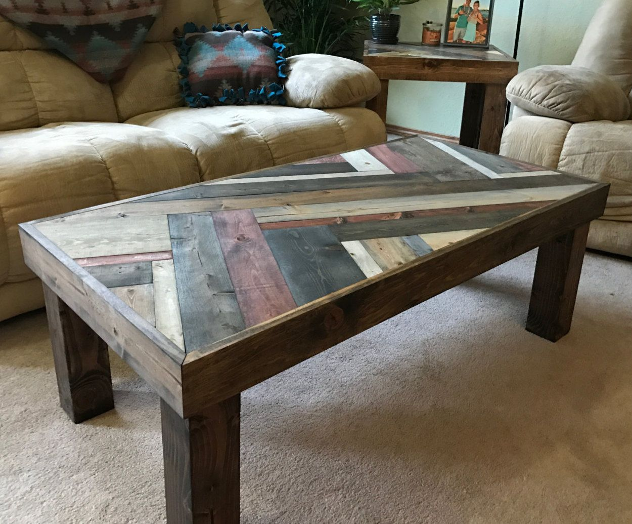 This Unique Coffee Table Gives A Beautiful Rustic Modern Flare It Features Gorgeous Lines And Colors Makin Coffee Table Unique Coffee Table Coffee Table Wood [ 1035 x 1250 Pixel ]