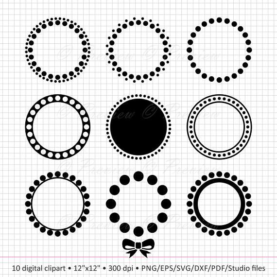 Buy 2 Get 1 Free Digital Clipart Circle Monogram Dot Frame Etsy Clip Art Digital Clip Art Circle Monogram