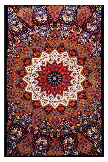 Amazon.com - Sunshine Joy® Indian Dark Star Elephant Tapestry - Red & Blue - 60x90 Inches - Beach Sheet - Hanging Wall Art - 3D Reactive Art...