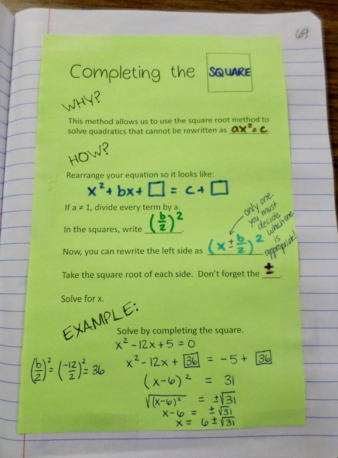 Interactive Completing Notebook Square Page