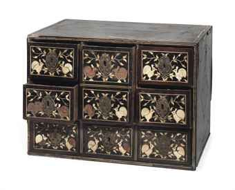 AN INDIAN IVORY, EBONY AND MARQUETRY VENEERED TABLE CABINET $14,000.00